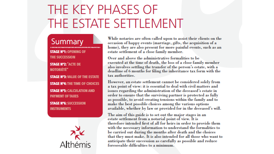 The key phases of the estate settlement